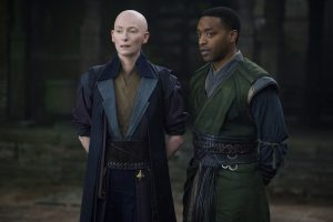 (l-r) The Ancient One (Tilda Swinton) and Mordo (Chiwetel Ejiofor) in Marvel's DOCTOR STRANGE.. ©Marvel. CR: Jay Maidment.