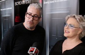 (l-r) Rolin Jones and Sharon Gless at the special screening of episode 5 of THE EXORCIST held during ScreamFest at the TCL Chinese Theatre in Hollywood. CA. ©Pacific Rim Video. Cr: Peter Gonzaga.