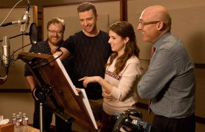 (L-R) TROLLS co-director Walt Dohrn, Anna Kendrick, Justin Timberlake, and director Mike Mitchell in the recording studio at DreamWorks Animation in Glendale, California. ©DreamWorkls Animiation LLC. CR: Jason Bush.