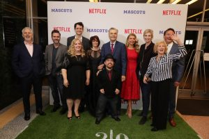 (l-r) Writer/Director Christopher Guest, Christopher Moynihan, Zach Woods, Sarah Baker, Parker Posey, Fred Willard, Brad Williams, Susan Yeagley, Jane Lynch, Producer Karen Murphy and Michael Hitchcock seen at Netflix original film 'MASCTOS' Los Angeles Special Screening on Wednesday, October 05, 2015, in Los Angeles, CA]. ©Eric Charbonneau/Netflix.