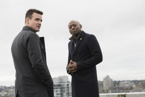 (l-r) Eddie McClintock as Jack Payne, Omar Epps as Isaac Johnson  in SHOOTER. ©Dean Buscher/USA Network)