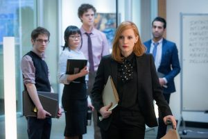 Noah Robbins, Grace Lynn Jung, Douglas Smith, Jessica Chastain and Al Macadam star in MISS SLOANE. © 2016 EuropaCorp – France 2 Cinema. CR: Kerry Hayes.