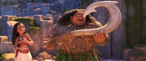 "(l-r) Moana (voiced by Auli'i Cravalho) and Maui (voiced by Dwayne ""the Rock"" Johnson) in MOANA. ©2016 Disney. All Rights Reserved."