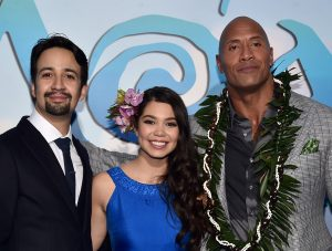 "(L-R) Songwriter Lin-Manuel Miranda, actors Auli'i Cravalho and Dwayne Johnson attend The World Premiere of Disneyís ""MOANA"" at the El Capitan Theatre on Monday, November 14, 2016 in Hollywood, CA.  ©Alberto E. Rodriguez/Getty Images for Disney."