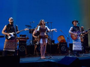 "Musicians Olivia Foa'i (C), Opetaia Foa'i (R) and band Te Vaka perform onstage at The World Premiere of Disneyís ""MOANA"" at the El Capitan Theatre on Monday, November 14, 2016 in Hollywood, CA.  ©Alberto E. Rodriguez/Getty Images for Disney."