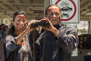 Frank Dillane (right) as Nick Clark, Danay Garcia as Luciana in FEAR THE WALKING DEAD: SEASON 2. ©Peter Iovino/AMC