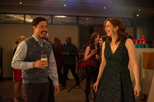 (L-R) Randall Park as Fred and Vanessa Bayer as Allison in OFFICE CHRISTMAS PARTY. ©Paramount Pictures. CR: Glen Wilson.