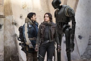 (l-r) Cassian Andor (Diego Luna), Jyn Erso (Felicity Jones) and K-2SO (Alan Tudyk) in ROGUE ONE: A STAR WARS STORY. © 2016 Lucasfilm Ltd. CR: Jonathan Olley.