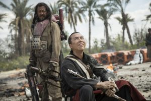 (l-r) Baze Malbus (Jiang Wen) and Chirrut Imwe (Donnie Yen) in ROGUE ONE: A STAR WARS STORY. © 2016 Lucasfilm Ltd. CR: Jonathan Olley.