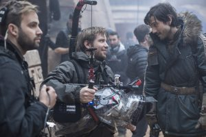 (l-r) Director Gareth Edwards and Diego Luna (Cassian Andor) on the set of ROGUE ONE: A STAR WARS STORY. © 2016 Lucasfilm Ltd. CR: Jonathan Olley.