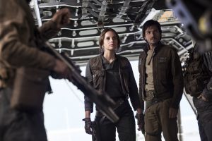 (l-r) Jyn Erso (Felicity Jones) and Cassian Andor (Diego Luna) in ROGUE ONE: A STAR WARS STORY. © 2016 Lucasfilm Ltd. CR: Jonathan Olley.