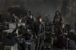 (l-r) Actors Riz Ahmed, Diego Luna, Felicity Jones, Jiang Wen and Donnie Yen in ROGUE ONE: A STAR WARS STORY. © 2016 Lucasfilm Ltd. CR: Jonathan Olley & Leah Evans.