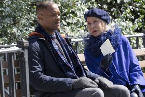 (l-r) Will Smith as Howard and Helen Mirren as Brigitte in COLLATERAL BEAUTY. ©Warner Bros. Entertainment. CR: Barry Wetcher.