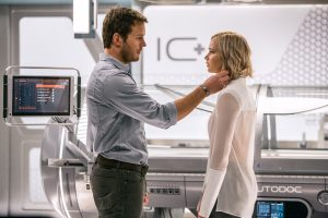 (l-r) Jim (CHRIS PRATT) and Aurora (JENNIFER LAWRENCE) realize they have limited options in Columbia Pictures' PASSENGERS. ©Columbia Pictures. CR: Jaimie Trueblood.