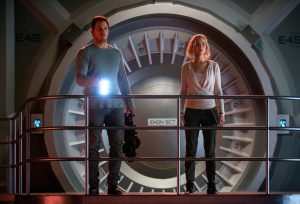 Red alert on the Avalon for Jim (CHRIS PRATT) and Aurora (JENNIFER LAWRENCE) in Columbia Pictures' PASSENGERS. ©Columbia Pictures. CR: Jaimie Trueblood.