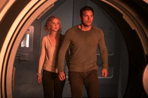 Jennifer Lawrence and Chris Pratt star in Columbia Pictures' PASSENGERS. ©Columbia Pictures. CR: Jaimie Trueblood.