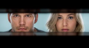 Chris Pratt and Jennifer Lawrence star in Columbia Pictures' PASSENGERS. ©Columbia Pictures. CR: Jaimie Trueblood.